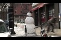 Scary Snowman Biker Scare